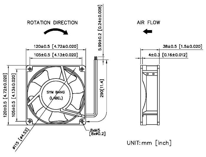 taiwan ac 120x120x38mm axial fan  uffed a12038