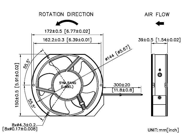 ac 172x151x38mm axial fans 17