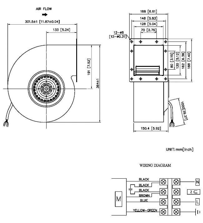 taiwan ac centrifugal single inlet blower 220v  1220  1160