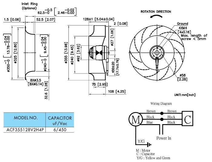 taiwan ac backward curved impeller fan 220v  1370 rpm
